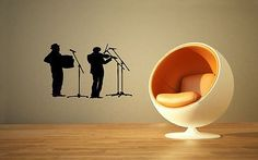 MUSIC BAND VIOLIN ACCORDEON PLAYER WALL VINYL STICKER DECALS ART MURAL G59