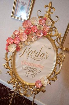 Welcome sign at a vintage romantic baptism party! See more party planning ideas… Shower Party, Bridal Shower, Christening Frames, Girl Birthday, Birthday Parties, Birthday Signs, Tea Parties, 30th Birthday, Birthday Ideas