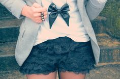 Lace shorts and bow necklace