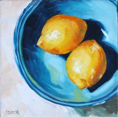 Lemons in a bowl original oil painting 6x6 by sharonschock