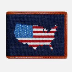 Smathers & Branson Americana Needlepoint Bifold Wallet