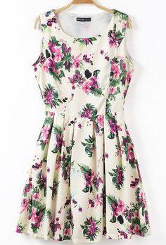 Beige Sleeveless Florals Print Pleated Dress - Sheinside.com
