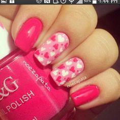 Pink polka hearts