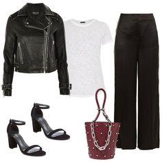 Easy white t-shirt outfit formula: white t-shirt, black flare pants, heels, top-handle bag, and a leather jacket