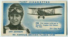 NYPL digital library - cigarette advertisement of 50 famous British pilots Amy Johnson, Croydon, New York Public Library, Darwin, 1920s, Aviation, British, Pilots, Digital