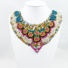 Colorful bohemian collar necklace,beaded collar necklace,statement necklace,bib necklace,detachable collar,beadwork necklace,flase collar