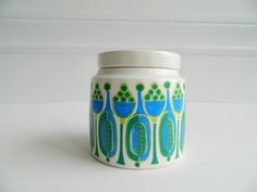 Scandinavian mod blue and green ceramic covered by MonkiVintage-this is Granada by Turi Gramstad Oliver for Figgjo :-)