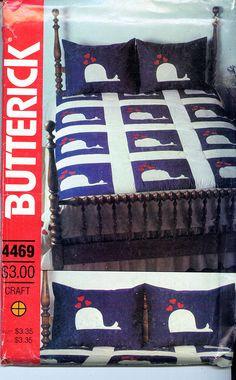 RARE Butterick 4469 circa 1980's FABULOUS WHALE QUILT Pattern UNCUT - New Vintage Studio
