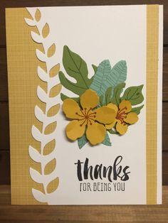 Stampin' Up! Thanks Card Botanical Blooms Hello Honey Old Olive Mint Macaron Botanical Builder Framelits Designer Series Paper