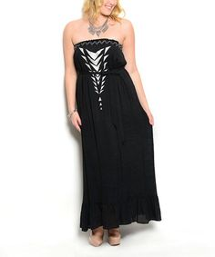 Love this Black Strapless Maxi Dress - Plus on #zulily! #zulilyfinds