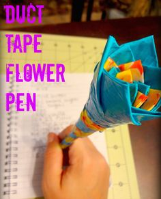 Duct Tape Flower Pen Tutorial finally i made one of these when i was taking a duct tape class thought id find it for my followers