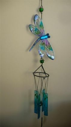 DRAGONFLY WIND CHIME 36 In. Total YARD DECOR BLING GARDEN OUTDOOR SPACE Blue