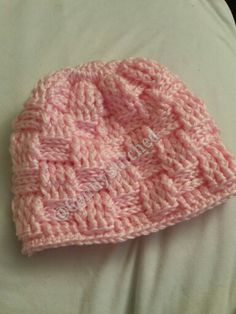 Soft baby pink basket weaved crochet hat! https://m.facebook.com/Gently-Stitched-Crochet-Creations-1082429501789631/