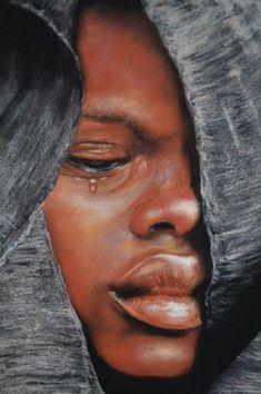 African Art Decor Cross Stitch Pattern-Printable Boy in Tears-Digital African Art-Digital African Boy-Digital Prints-PDF File Art Black Love, Black Girl Art, Black Art Painting, Black Artwork, Images D'art, Afrique Art, African Paintings, Black Art Pictures, Pastel Portraits