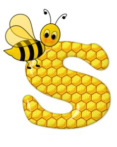 Alphabet letters bee on honeycomb. Alphabet Design, Alphabet Art, Alphabet And Numbers, Bee Crafts, Preschool Crafts, Bee Pictures, Scrapbook Letters, Spelling Bee, Bee Party
