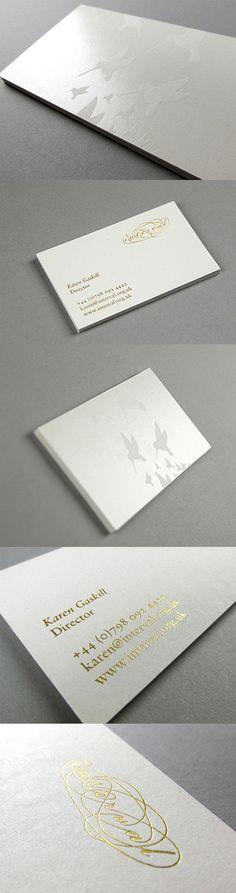 Elegant And Understated White Gold Foil Business Card Design