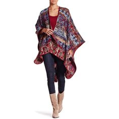Just Jamie Aztec Print Ruana (44 CAD) ❤ liked on Polyvore featuring outerwear, red, red cape coat, cape coat and red cape