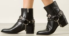 Saint Laurent Wyatt 40 concho harness ankle boots in black leather