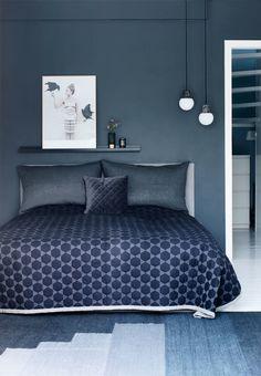 mr price home bedroom decor ideas Dark Blue Bedrooms, Blue Gray Bedroom, Blue Bedroom Decor, Blue Rooms, Home Bedroom, Bedroom Wall, Bedroom Ideas, Bedroom Apartment, Design Bedroom