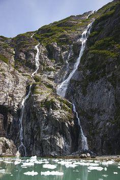 Waterfalls near South Sawyer Glacier, Tracy Arm-Fords Terror Wilderness, Tongass National Forest, Alaska; photo by Matthias Breiter