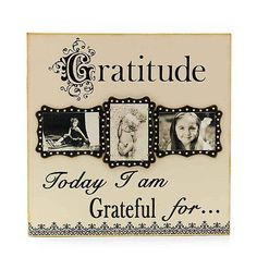 www.ShopCelebratingHome.com item #18631 $49  Declare your gratitude and display three photos at the same time with this composite wood wall frame 21 1/2 x 21 1/2.  Holds 3,  4 x 6 inch pictures.  You can switch the pictures out as often as you like!  Love it! ShopCelebratingHome.com