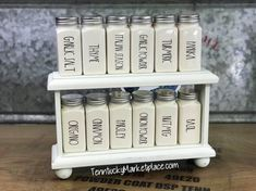 Excited to share this item from my shop: Spice Jar Set WITH Riser Rae Dunn Inspired includes 12 jars, Additional Jars Available, Powder Coated/Laser Engraved NO decals Modern Kitchen Cabinets, Farmhouse Kitchen Decor, Urban Farmhouse, Country Farmhouse, Ray Dunn, Spice Jar Set, Silver Tops, Kitchen Organization, Organization Hacks