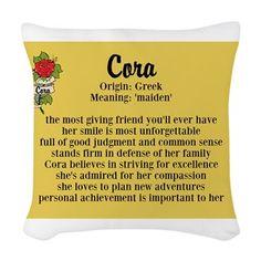 Cora Name Meaning Design Woven Throw Pillow