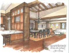 Very nice interior hand drawing and rendering.