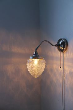 Sparkling Winters Ice  - Stainless Steel Gooseneck Wall Sconce - Oak Tree Acorn Textured Shade - UpCycled BootsNGus Lighting Fixture. $50.00, via Etsy.