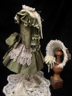 Couture Silk Dress Hat Set for Jumeau Bru French German Antique Dolls | eBay