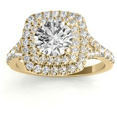 Allurez Square Double Halo Diamond Engagement Ring 18k Yellow Gold... ($2,425) ❤ liked on Polyvore featuring jewelry, rings, rose gold rings, rose engagement ring, engagement rings, square cut engagement rings and gold diamond rings