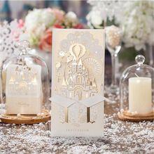 Ślub Karty Baby Shower Zapraszając Elegancki Laserowo Wycinane Zaproszenie Boże Narodzenie Papieru Event Party Dekoracje Luksusowe Romantyczny Zamek(China (Mainland))