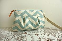 Wristlet/ Natural Chevron Stripe --Ready to Ship--. $29.00, via Etsy.   WANT!