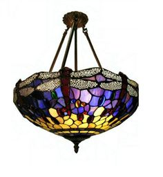 d1b7a4055428 Blue stained glass Tiffany-style Hanging Dragonfly light Warehouse of  Tiffany s