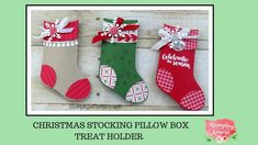 Christmas Stocking Pillow Box Treat Holder Using Stampin'Up Tags and Trimmings Bundle. Christmas Paper Crafts, Christmas Lanterns, Stampin Up Christmas, Christmas Tag, Christmas Ideas, Christmas Stocking Hangers, Christmas Stockings, Mini Stockings, Homemade Gifts