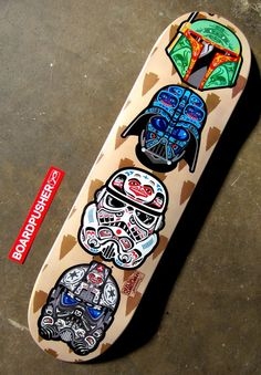 """POW-WOW"", today's Featured Deck designed by Heels & Zimerman, shows off some classic Star Wars helmets fashioned to fit a totem pole. Pick up this deck, or check out some other sick and eclectic skateboard graphics, at www.BoardPusher.com/shop/hzskateboards. darth vader boba fett:"