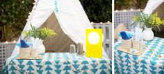 Everything from the tablecloth, the floors, garlands, and napkins has a triangle shape.
