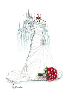 Scenery of your magical wedding day. A wedding dress sketch, bouquet sketch and a castle. Click here to see the sketch gallery. Dreamlines wedding dress sketch given as a wedding gift, anniversary gift and bridal shower gift. #weddingngift #anniversarygift #bridalshowergift http://www.mydreamlines.com/how-it-works/photo-gallery/