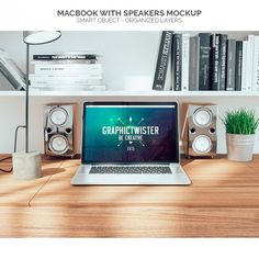 Macbook with speakers mock up Free Psd  #Freebies #FreePSD #FreeDesignMockup