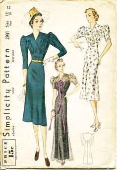 Vintage 1930s Dress Pattern - Simplicity 2931 - Misses' Day or Evening Length Dress in Two Variations - SZ 12/Bust 30 by ThePatternSource on Etsy https://www.etsy.com/listing/260129911/vintage-1930s-dress-pattern-simplicity