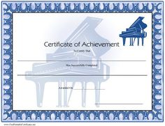 A printable certificate of achievement with two grand pianos in blue tones. Free to download and print