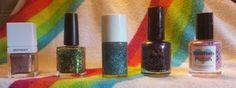 Sephora + Pantone Confetti (1/2 mani), Serum No. 5 May Flowers (1 mani), Seventh & Parker Winter Skies (1/2 mani), Seche Vite Nostalgic (sw), Smitten Polish Ladybird (1 mani)