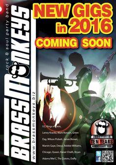 BrassMonkeys New Gigs in 2016 - Coming Soon Wilson Pickett, Chicago Tours, Mark Ronson, Bryan Adams, Party Rock, Robbie Williams, Lenny Kravitz, Marvin Gaye, James Brown