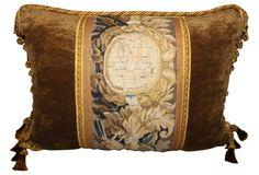 Velvet Pillow w/ French Tapestry