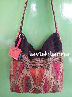 But I don't like the print on the strap!!!  $60  Vintage Ethnic Laos Textile crossbody bag Vintage handmade tribal Fashion Accessory with Charm HBm2013-27