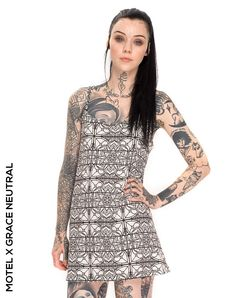 Motel X Grace Neutral is the latest in our series designer collabs to hit Motel! Featuring a super vesatile mini slip dress with thin straps. Full Body Tattoo, Body Art Tattoos, Girl Tattoos, Tattoos For Women, Tattooed Women, Tatoos, Grace Neutral, Mujeres Tattoo, Mini Slip Dress