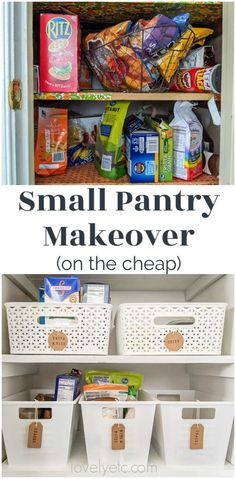 Small Pantry Makeover full of Inexpensive Organization - Lovely Etc. Our small pantry closet was cro Deep Pantry Organization, Organizing Walk In Closet, Kitchen Organisation, Pantry Ideas, Pantry Storage, Organizing Tips, Closet Ideas, Kitchen Storage, Organization Ideas