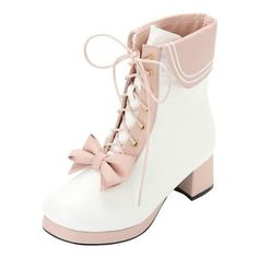 FREE SHIPPING Lolita Bow Heeled Boots (230 RON) ❤ liked on Polyvore featuring shoes, boots, faux leather boots, bow ankle boots, ankle bootie boots, vintage boots and bow shoes