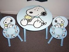 Nice Peanuts Baby Snoopy Woodstock Childrens Table and 2 Chairs Two