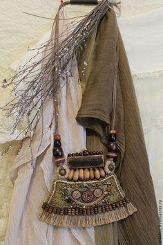 Купить Этностиль(колье) - хаки, колье, этно, бохо украшения, бохо, ткань, бусины деревянные